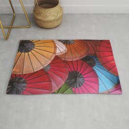 Paper Colored Umbrellas from Laos Rug