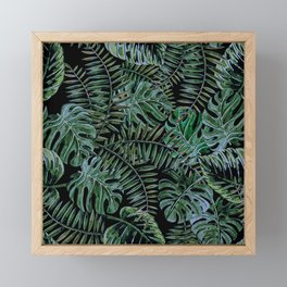 Tropical Night Palm Monstera Garden Framed Mini Art Print