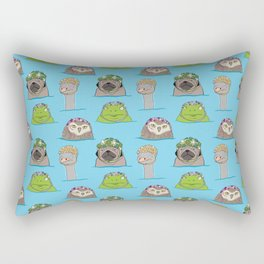 Grumpy animals in vintage swim caps Rectangular Pillow
