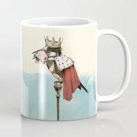 king Mugs featuring King Fisher by Eric Fan