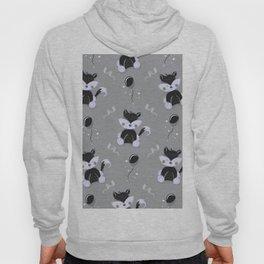 Happy Birthday Black Fox Grey Background Pattern Hoody