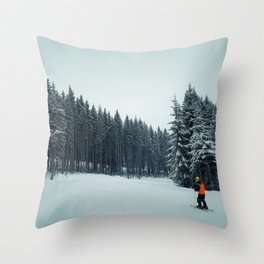boy skiing Throw Pillow