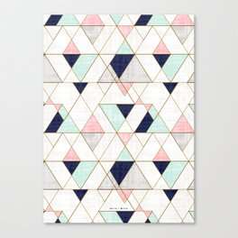 Mod Triangles - Navy Blush Mint Leinwanddruck