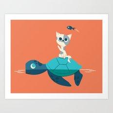 Cat on a Turtle Art Print