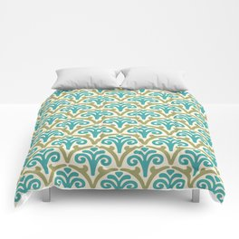 Floral Scallop Pattern Sage and Turquoise Comforters