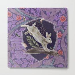 Forest Rabbit Floral Art Nouveau Design Metal Print