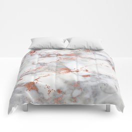 Glam stylish faux rose gold gray abstract blush chic marble Comforters