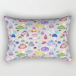 Watercolor Mushroom Pattern on Gray Rectangular Pillow