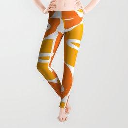 Mid Century Modern Orange Gold Leggings