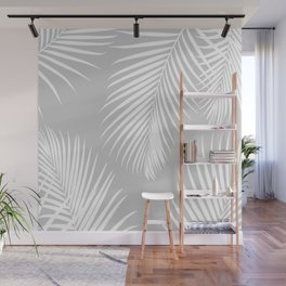 Gray Tropical Pattern Wall Mural