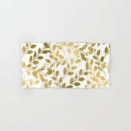 Gold Leaves on White Hand & Bath Towel
