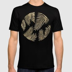 Gold palm leaves Mens Fitted Tee Black X-LARGE