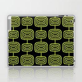 Mid Century Modern Atomic Rings Pattern Black and Chartreuse Laptop & iPad Skin