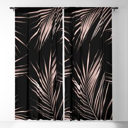 Rosegold Palm Tree Leaves on Midnight Black Blackout Curtain