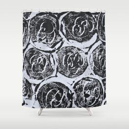 Rosettes Abstracted Black and White Shower Curtain