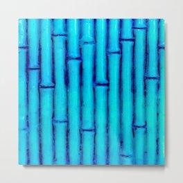 Tropical Blue Bamboo Nature Pattern Metal Print