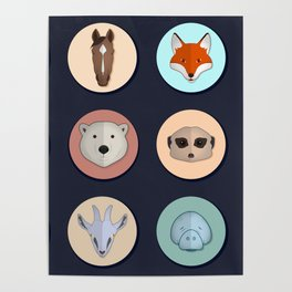 Vector animals in circles Poster
