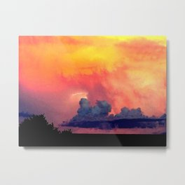 Lightning over Madison Metal Print