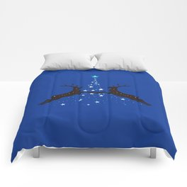 Star Christmas Tree with reindeer - Blue Comforters