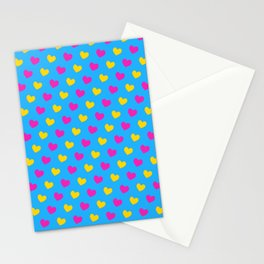 Pansexual Pride Diagonal Hearts Pattern Stationery Cards