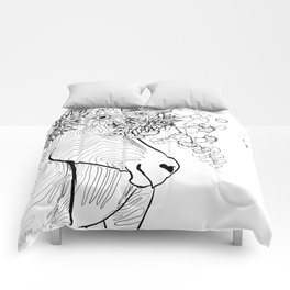 Zebra With Flowers in its Hair - Wearable Coloring Page Comforters