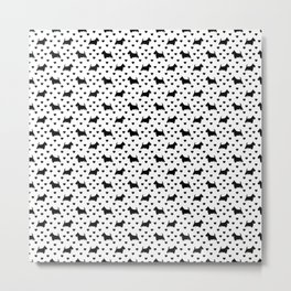 Cute Black Scottish Terriers (Scottie Dogs) & Hearts on White Background Metal Print