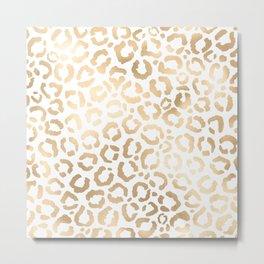 Elegant Gold White Leopard Cheetah Animal Print Metal Print