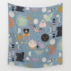 Lunar Pattern: Blue Moon Wall Tapestry