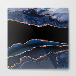 Indigo Blue and Rose Gold Marble Agate Metal Print