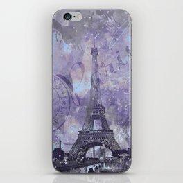 Purple Paris Watercolor Art iPhone Skin