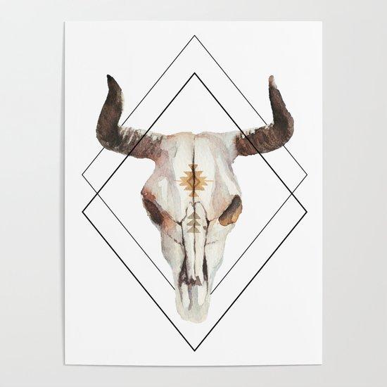 Geometric bull skull by artonwear