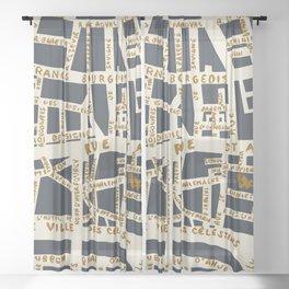 PARIS MAP GREY GOLD Sheer Curtain