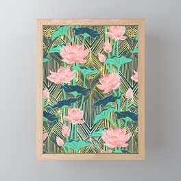 Art Deco Lotus Flowers in Peach & Emerald Framed Mini Art Print