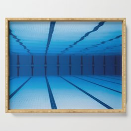 Underwater Empty Swimming Pool. Serving Tray