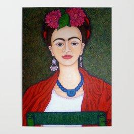 Frida portrait with dalias Poster