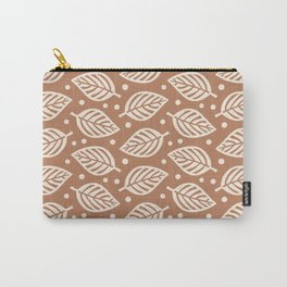 Mid Century Modern Falling Leaves Brown Beige Carry-All Pouch