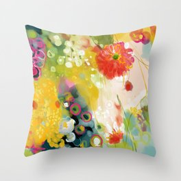 abstract floral art in yellow green and rose magenta colors Deko-Kissen