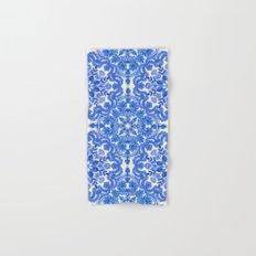Cobalt Blue & China White Folk Art Pattern Hand & Bath Towel