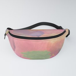 brush painting texture abstract background in pink purple yellow Fanny Pack