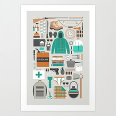 Zombie Survival Kit Art Print