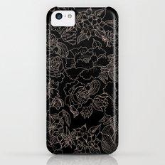 Pink coral tan black floral illustration pattern Slim Case iPhone 5c