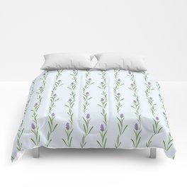 Modern artistic pastel blue lavender watercolor floral pattern Comforters
