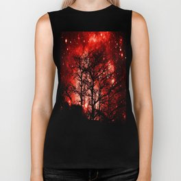 black trees red space Biker Tank