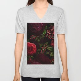 Mystical Night Roses Unisex V-Neck