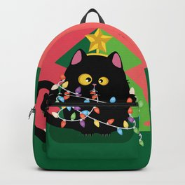 Christmas black cat with garland Backpack