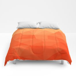 Abstract Geometric Gradient Pattern between Pure Red and very light Orange Comforters