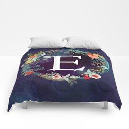 Personalized Monogram Initial Letter E Floral Wreath Artwork Comforters