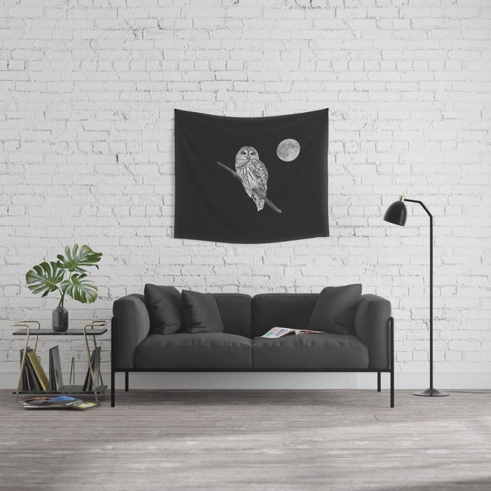 Owl, See the Moon (bw) Wall Tapestry
