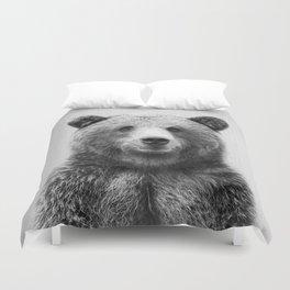 Grizzly Bear - Black & White Duvet Cover