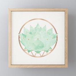Green Succulent Watercolor Framed Mini Art Print